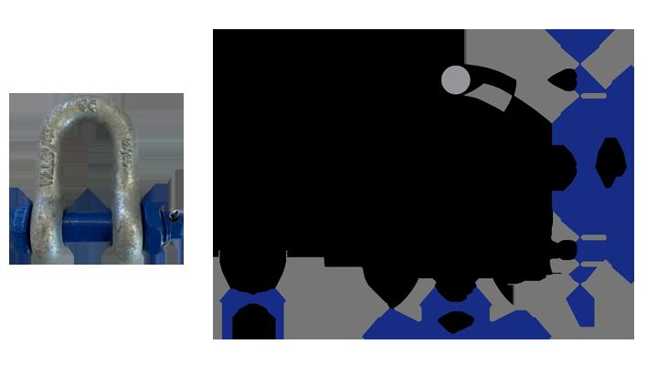 Manilha reta com pino, porca e cupilha