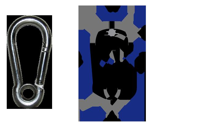 Mosquetão com trava simples galvanizado