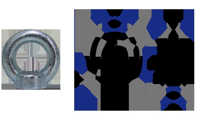 Porca Olhal de suspensão tipo porca métrica