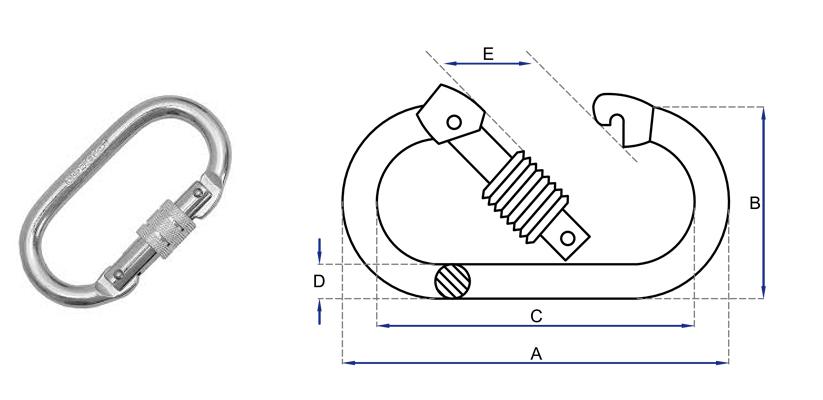Mosquetão de aço oval com trava roscada classe B